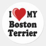 I Love (Heart) My Boston Terrier Dog Round Sticker