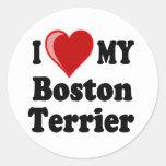 I Love (Heart) My Boston Terrier Dog Sticker