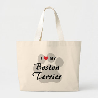 I Love (Heart) My Boston Terrier Pawprint Canvas Bag
