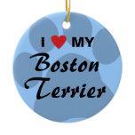 I Love (Heart) My Boston Terrier Pawprint Ceramic Ornament