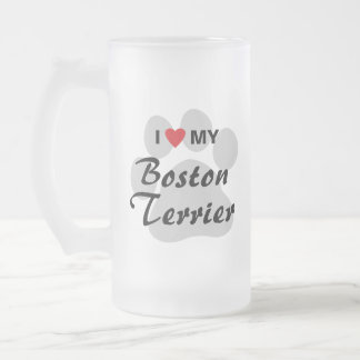 I Love (Heart) My Boston Terrier Pawprint Frosted Glass Beer Mug