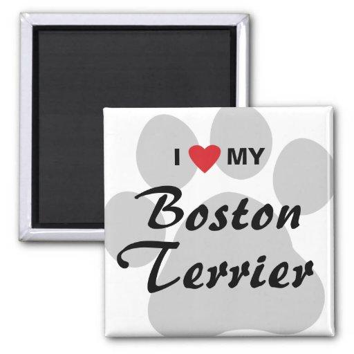 I Love (Heart) My Boston Terrier Pawprint Refrigerator Magnet