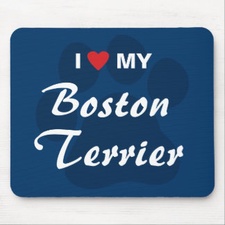 I Love (Heart) My Boston Terrier Pawprint Mouse Pad