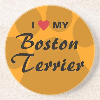 I Love (Heart) My Boston Terrier Pawprint Sandstone Coaster