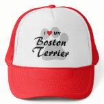 I Love (Heart) My Boston Terrier Pawprint Trucker Hat