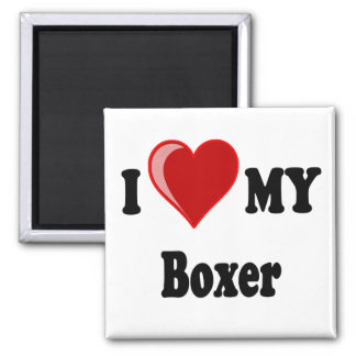 I Love (Heart) My Boxer Dog 2 Inch Square Magnet