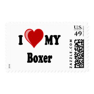 I Love (Heart) My Boxer Dog Postage