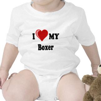 I Love Heart My Boxer Dog Baby Bodysuit