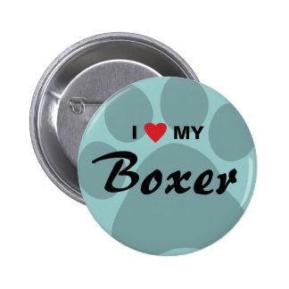 I Love (Heart) My Boxer Pawprint Pins