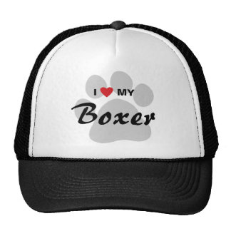 I Love (Heart) My Boxer Pawprint Trucker Hat