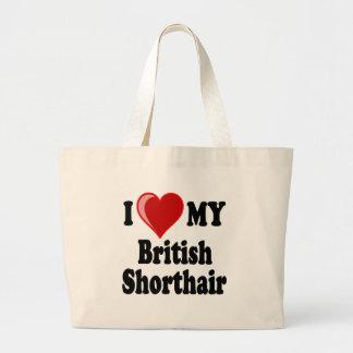 I Love (Heart) My British Shorthair Cat Tote Bags