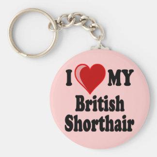 I Love (Heart) My British Shorthair Cat Keychains