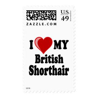 I Love (Heart) My British Shorthair Cat Postage Stamp