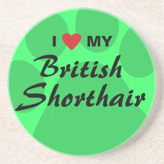 I Love (Heart) My British Shorthair Drink Coasters