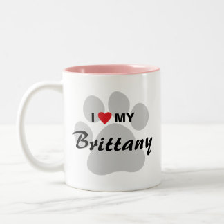 I Love (Heart) My Brittany Pawprint Two-Tone Coffee Mug