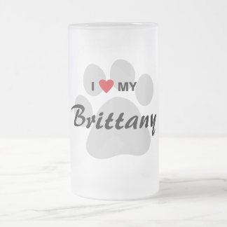 I Love (Heart) My Brittany Pawprint 16 Oz Frosted Glass Beer Mug