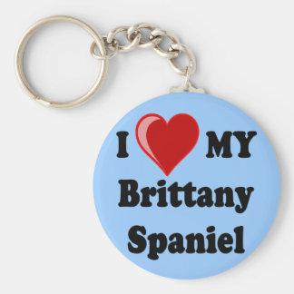 I Love (Heart) My Brittany Spaniel Dog Basic Round Button Keychain