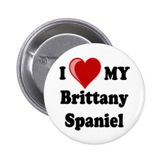I Love (Heart) My Brittany Spaniel Dog Pinback Button