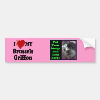 I Love (Heart) My Brussels Griffon Dog Bumper Car Bumper Sticker