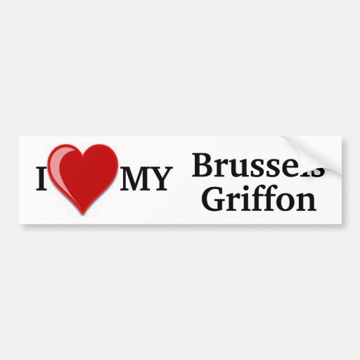 I Love (Heart) My Brussels Griffon Dog Sticker Car Bumper Sticker