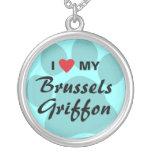 I Love (Heart) My Brussels Griffon Pendants