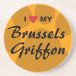I Love (Heart) My Brussels Griffon Sandstone Coaster
