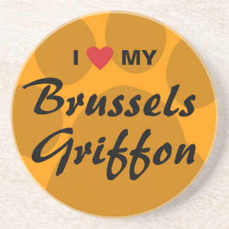 I Love (Heart) My Brussels Griffon Sandstone Coaster