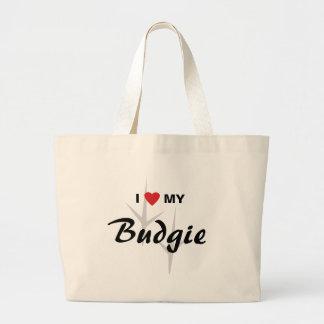 I Love (Heart) My Budgie Bird Tracks Design Tote Bags