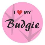 I Love (Heart) My Budgie Bird Tracks Design Classic Round Sticker