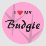 I Love (Heart) My Budgie Bird Tracks Design Classic Round Sticker
