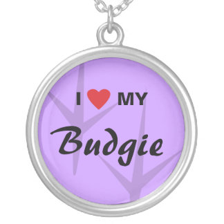 I Love (Heart) My Budgie Bird Tracks Design Silver Plated Necklace