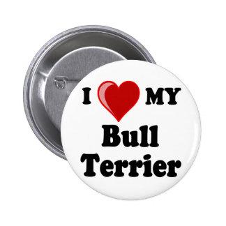 I Love (Heart) My Bull Terrier Dog Pins