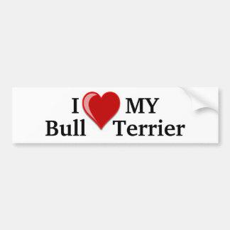 I Love (Heart) My Bull Terrier Dog Car Bumper Sticker