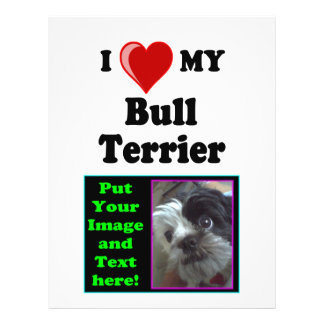 I Love (Heart) My Bull Terrier Dog Personalized Flyer