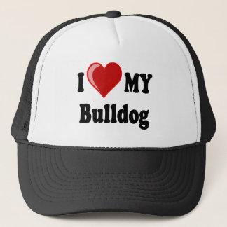 I Love (Heart) My Bulldog Trucker Hat