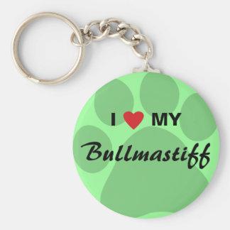 I Love (Heart) My Bullmastiff Pawprint Basic Round Button Keychain