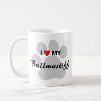 I Love (Heart) My Bullmastiff Pawprint Coffee Mug