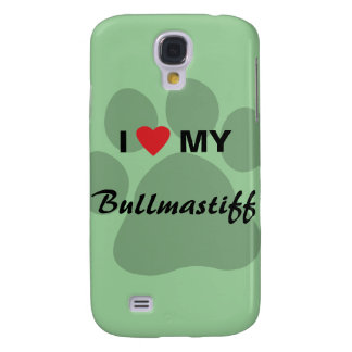 I Love (Heart) My Bullmastiff Pawprint Galaxy S4 Cover