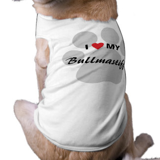 I Love (Heart) My Bullmastiff Pawprint Tee