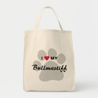 I Love (Heart) My Bullmastiff Pawprint Tote Bag