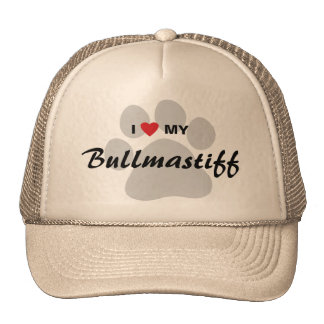 I Love (Heart) My Bullmastiff Pawprint Trucker Hat