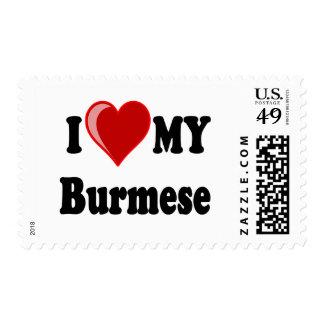 I Love (Heart) My Burmese Cat Postage