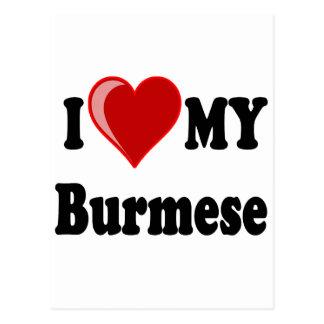 I Love (Heart) My Burmese Cat Postcard