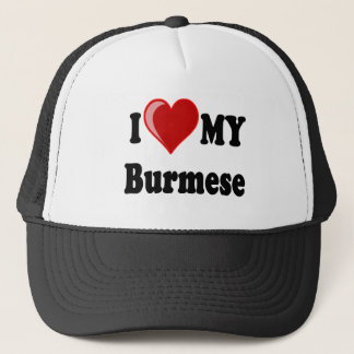 I Love (Heart) My Burmese Cat Trucker Hat