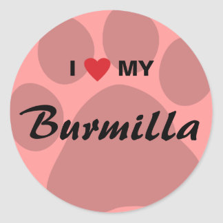 I Love (Heart) My Burmilla Cat Pawprint Classic Round Sticker