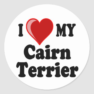 I Love (Heart) My Cairn Terrier Dog Classic Round Sticker