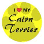 I Love (Heart) My Cairn Terrier Pawprint Classic Round Sticker