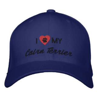 I Love (Heart) My Cairn Terrier Pawprint Embroidered Baseball Cap