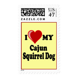 I Love (Heart) My Cajun Squirrel Dog Postage