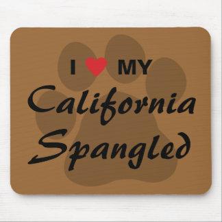 I Love Heart My California Spangled Cat Pawprint Mousepad